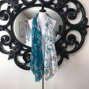 Beautiful turquoise and white floral scarf
